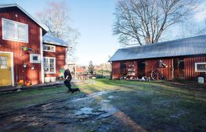 Ett stall och lite hagmark hör till huset, perfekt för Annika som har tre hästar.