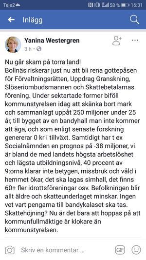 Strax efter beslutet skrev Yanina Westergren (L) ett inlägg på Facebook där hon kritiserar kommunstyrelsen.