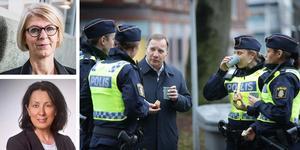Moderaterna Elisabeth Svantesson och Lotta Olsson uppmanar regeringen att göra en ändringsbudget med större utrymme för polisen och välfärden. (Bilden är ett montage)