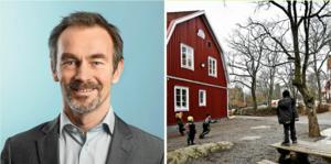 Lars Lindberger, presschef på Norrtälje kommun, till höger Rådmansö skola. Foto: Foto: Casper Hedberg och arkiv