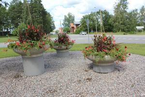 Nu står det tre vackra krukor med blommor som ska få växa upp vid infarten till Fellingsbro.