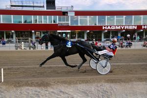 Fredrik Tingstad-tränade Turenne ledde från start till mål för Oskar Kylin Blom i sin debut. Foto: Mats Persson.