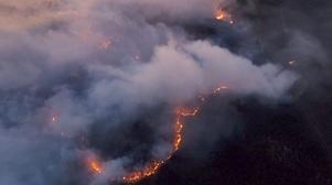 Drönarbild från branden i Pålgård. Foto: Emil Dahlgren