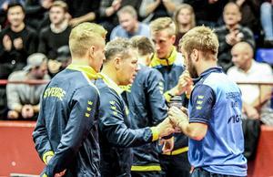 Hampus Nordberg tillsammans med Peter Blomquist och Jon Persson vid landskampen i Söderhamn i höstas.