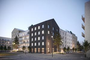 Kvarteret Alen kommer att bestå av ett äldreboende, fyra korttidsboenden och 87 hyresrätter. Foto: Credentia