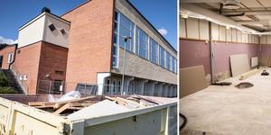 Stora ytor golv och fuktskadade väggar har fått rivas ut ur de vattenskadade lokalerna.