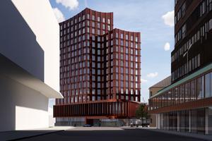 Det kommande hotellet sett från Köpmangatan. Skiss: Södertälje kommun
