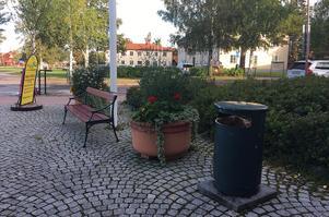 Tidig morgon ett stenkast från kommunhuset - rensopat och tömd papperskorg.
