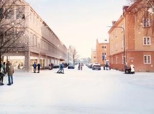 Ur den nya detaljplanen: Vy från Slussgatan med den nya vårdcentralen till vänster. Bildkälla: Marge Arkitekter