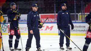 Dennis Bozic och Nichlas Falk på tisdagens träning.