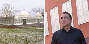 Parahat Iklym ser möjligheter att kombinera fiskodling med odling av grödor i växthuset i Hagaparken i Hofors.