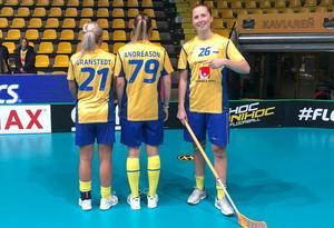 Emelie Wibron gjorde poäng 100 i landslaget. Bild: Svensk Innebandy