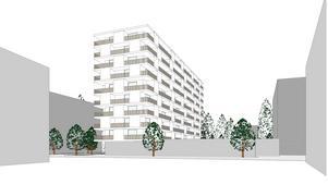Så här skulle det nya bostadshuset vid Ica Jätten kunna se ut, tio våningar högt med balkonger över parkering som blir i markplan. Den grå balken i nederkant som sträcker sig åt höger är sockeln som utgör mataffären. Till vänster om den sker infart till parkeringen.Skiss: Södertälje kommun/Arklab
