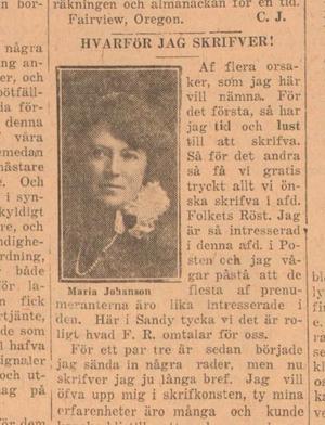 Maria Johansson är det nya huvudspåret i fallet Joe Hill. Här en av hennes många tidningsartiklar, nu sökbara på Kungliga Biblioteket.