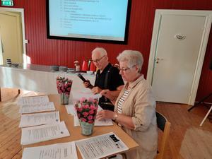 Bengt Strandberg leder årsmötesförhandlingarna med Lena Westin som sekreterare. Foto: