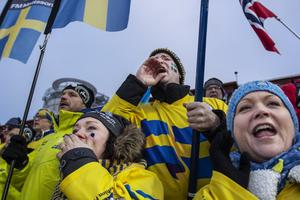 Svenska fans på herrarnas sprint.
