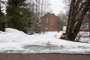 En av de byggbara tomterna längs Corneliusgatan i centrala Avesta. I bakgrunden syns flerfamiljshus med adress Jämtbovägen.