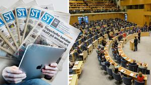 Jeanette Gustafsdotter, vd på TU, vänder sig till riksdag och regering inför veckans betänkande och beslut om public service och teknikneutral moms. Bilder: Arkiv / Erlend Aas/TT / Anders Wiklund/TT