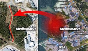 Kofotsgatan kommer att byggas från rondellen på Västerleden till Krankroksgatan intill City Gross. Foto: Google Maps. Illustration: Terese Westberg Sunesson