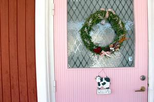 Bubbelgumsrosa dörr till falurött hus.