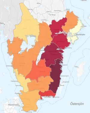 Kartan från Skogsstyrelsen visar var granbarkborren skadat flest kubikmeter skog. Ju rödare, desto mer omfattande skador. Karta: Skogsstyrelsen