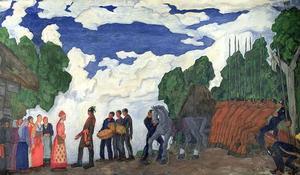 Kalev, Estlands förste kung, friar till sin blivande hustru Linda. Målning av Kristjan Raud  från 1935.