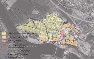 Månsbos historiska struktur som förslaget haft som grund vid utformning av den nya stadsdelen | Bild: Avesta kommun