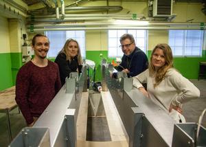 Solfångare är en viktig pusselbit i energiomställningen anser Erik Zäll (från vänster), Josefine Nilsson, Christer Pekkala och Emelie Nordlander.