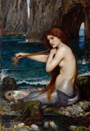 Sjörået är besläktat med sjöjungfrun.  Målning av John William Waterhouse från 1900.