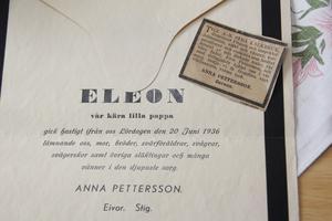 Elon (även kallad Eleon) Pettersson begravdes den 28 juni 1936.