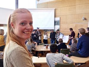 Ida Fransson och hennes kamrater från Linnéuniversitetet föreslår fontän och kafé på ett grönskande kyrktorg i Värnamo.