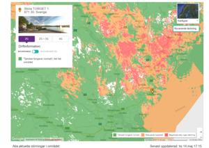Ögonblicksbild från Telias hemsida med driftsinformation.