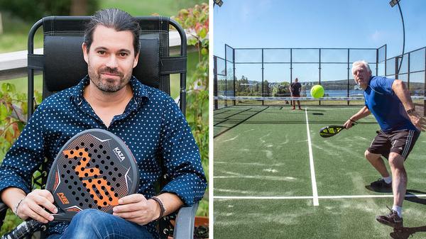 Padel är en blandning mellan tennis och squash, men liknar mest tennis. Luis Miguel Perez Alonso var den som tog succésporten till Sverige.Bild: Leif Granlind, Anki Haglund.