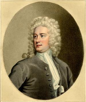 Den engelske poeten Thomas Tickell. Målning av Sylvester Harding från 1760.