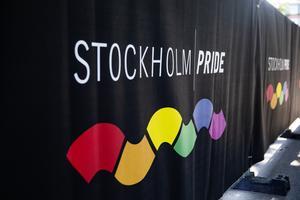 Förberedelser inför Stockholm Pride på Östermalms IP. Foto: Emma-Sofia Olsson / SvD / TT.