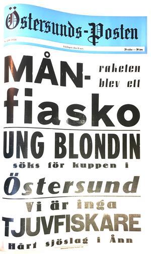 ÖP:s löpsedel 8 november 1958.