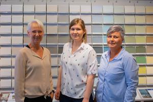 Anni Linberg, Amelie Josefsson och Ellinor Bengtsson på Colorama Färghörnan Huskvarna.