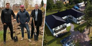 Projektledaren Pierre Andreasson, fastighetsägaren Tom Sakofall och mäklaren Olle Löfberg tog traditionsenligt med sig spadar för att fira byggstarten.