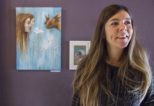 Charlotte Winberg, född 1970. Denna målning är utställningens starkaste, för mötet mellan människa och djur.