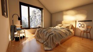 Så här tänker sig arkitekten Emil Aludden att det kan se ut när lägenheterna är inredda. Foto: Johan Skoog arkitektkontor