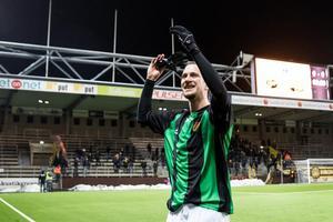 Edin Hamidovic har fått en flygande start på sejouren i Gais. Här ses han jubla efter cupsegern borta mot Elfsborg.