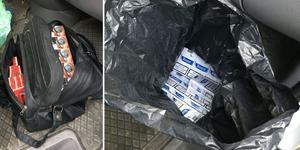 I bilen fanns en mängd olaglig tobak. Bilder: Polisens förundersökning.