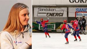 Camilla Johansson jublar efter ett av sina tre mål mot SAIK.  Bild: Martin Löf Nyqvist/Karin Johansson.