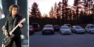 Till vänster: Per Gessle under fredagens spelning på Dalhalla. Till höger: Åke Lindéns och flera andras inparkerade bilar. Foto: Eric Salomonsson/Åke Lindén.