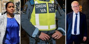 Anna hård af Segerstad (M) anklagar bland andra Anders Teljebäck (S) för svek om ordningsvakterna i centrum.