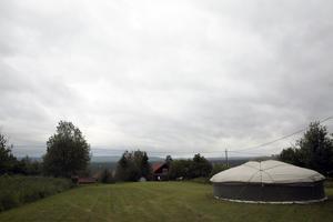Stora ängen där utsikten över Skattungbyn är magnifik.