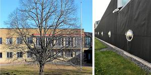 Det gamla och nya kommunhuset i Hällefors.