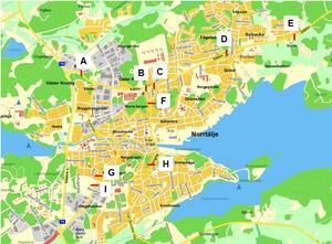 Bokstäverna markerar platserna för sensorerna som ska mäta Norrtälje stads trafikflöde. Karta: Norrtälje kommun