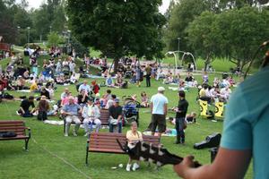 Öjeparken var välbesökt när livemusiken från nio artister och band livade upp onsdagskvällen.