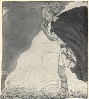 John Bauers tolkning av den sluge guden Loke från 1911.